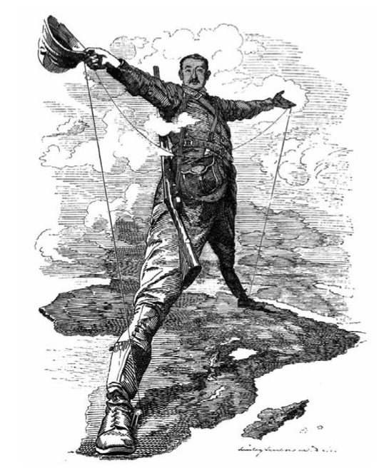 the ego size of sociopaths - how the imperialists saw themselves. cecil rhodes announces plans for telegraph between cairo and cape town. cartoon in Punch 1892. creative commons Licence