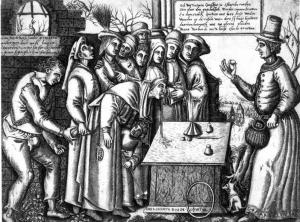 the conjuror - school of Hieronymous Bosch c1550 Public Domain image Wikimedia commons